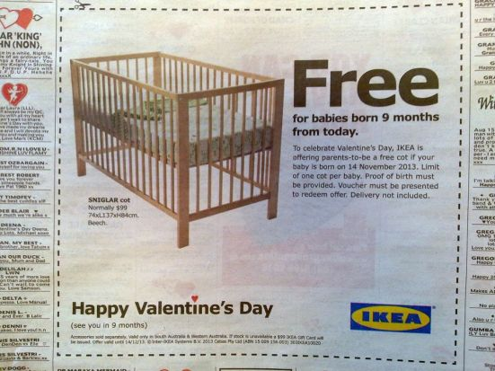 Ikea Valentines Day Crib Offer