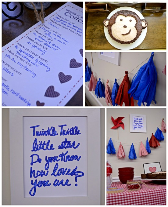 red-and-blue-baby-shower-monkey-party-cake