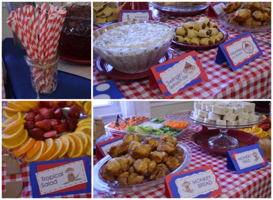 Red Rock Monkey Baby Shower - Red Straws - Monkey Party - Food for Monkey Party