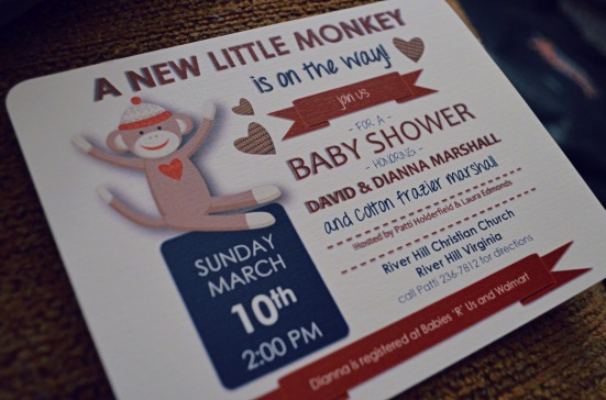 sock Monkey Invitation Shower Party Red and Blue