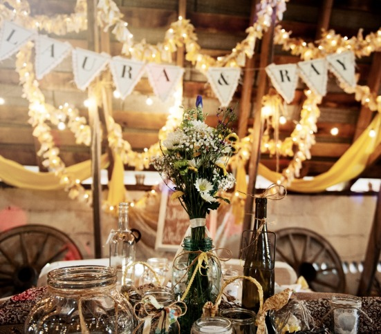barn reception centerpiece wildflower mason jars.jpg