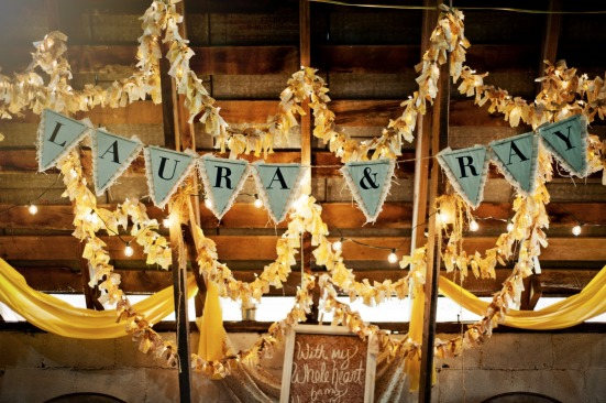 DIY yellow wedding rustic barn reception