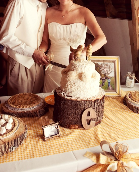 rustic wedding reception cake yellow.jpg